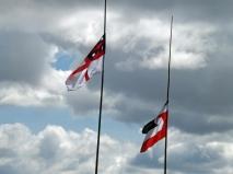 Maori flags flying
